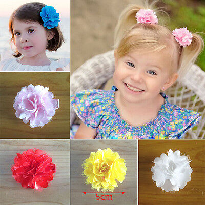 2pcs Kids Girl Baby Toddler Infant colorful Flower hair clip hair accessories