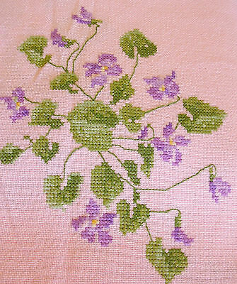 Vintage pink linen tablecloth / bedspread hand embroidered violets cross stitch