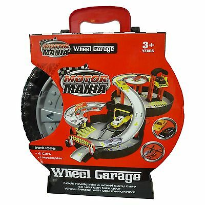 Motor Mania Wheel Toy Garage Fold Out Storage Carry Case Includes 2 Cars New
