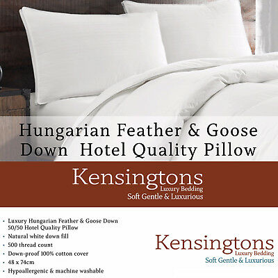 Hungarian Goose Feather & Down Luxury Hotel Quality 2 x Pillows 1300G