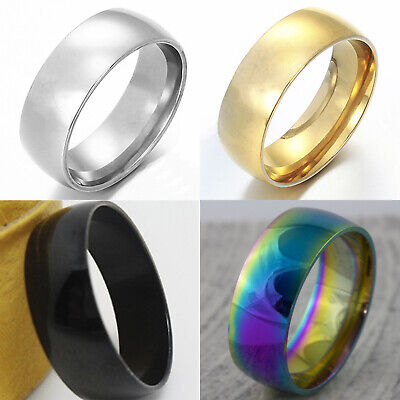 8mm Mens Wedding Ring Womens Stainless Steel Band (Sizes M to Z+3) (4 Colours)