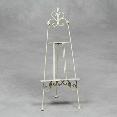 New Folding Table Top Antique WHITE Metal Ornate Easel Ideal Table Plan Menu