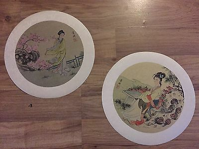Pair (2) Chinese Antique Oriental Asian Art Prints Women Kimonos Elegant Rare