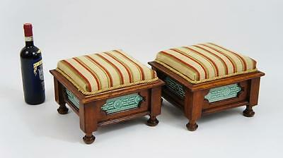 Pair of Victorian Oak upholstered footstools with Minton Hollins tile inserts • £345.00