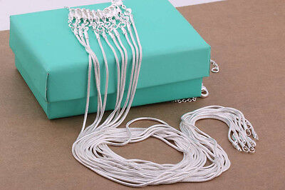 Christmas 925 Sterling Solid Silver Lots 5PCS 1MM Snake Chain Necklace 16-30Inch