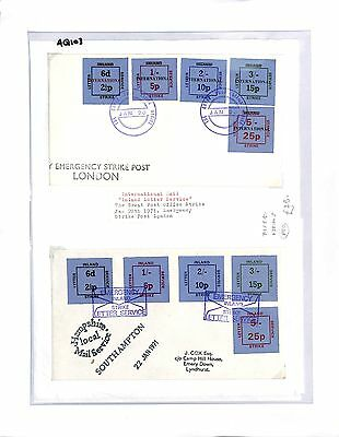 AQ103 1971 GB London Strike Post. Inland Letter Service. Cover x2