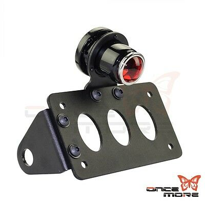 Motorcycle Black License Plate Bracket With Brake Tail Light For Harley Chopper