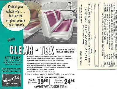 "Vintage Howard Zink Car Clear Plastic Seat Cover Flyer, w/ Sample, 5 5/8"" by 7"""
