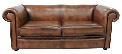 Chesterfield 1930's 3 Seater Antique Tan Leather Sofa Settee