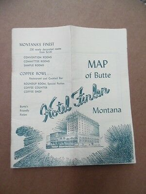 c.1944 Finlen Hotel Advertising Street Map of Butte Montana WWII era Vintage VG