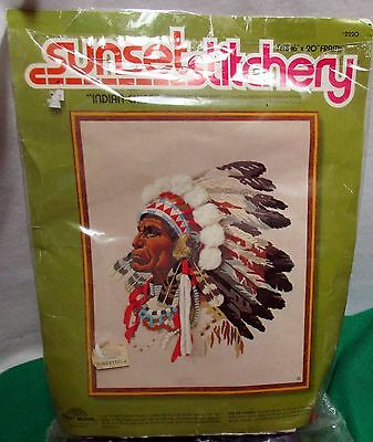 """Sunset Stitchery """"Indian Chief"""" Crewel Embroidery KIT -#2220"""