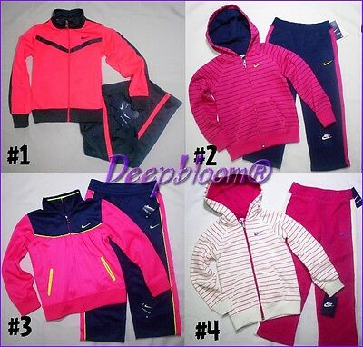 Nike Outfit Tracksuit Jacket Pants Set Girls Sz 4 5 6 6X Pink Tricot New