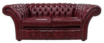 Chesterfield Vintage Balmoral 2 Seater Old English Burgandy Leather Sofa Settee