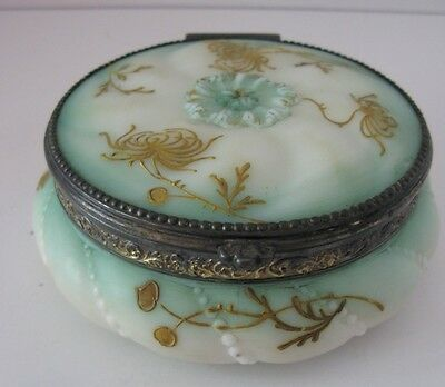 Mt. Washington Pairpoint Round Decorated Embossed Jewel Box W/ Hinged Lid & Gold