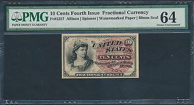 FR1257 10¢ 4TH ISSUE FRACTIONAL WATERMARKED 40mm SEAL PMG 64 CHOICE UNC BT3413