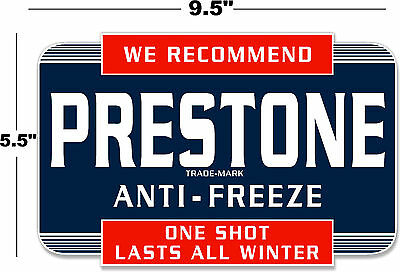 "(Pres-Sta-1) 9.5"" Prestone Anti-Freeze Can Decal Station Gasoline Gas Pump"
