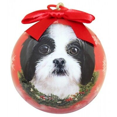 Shih Tzu Puppy Christmas Ornament Ball Dog Snowflakes Red New Black White