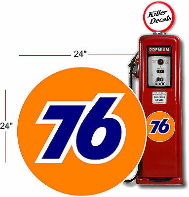 """(UNIO-1) 24"""" UNION 76 GASOLINE GAS PUMP OIL TANK DECAL by Unocal"""
