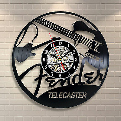 Telecaster Music Room_Exclusive wall clock made of vinyl record
