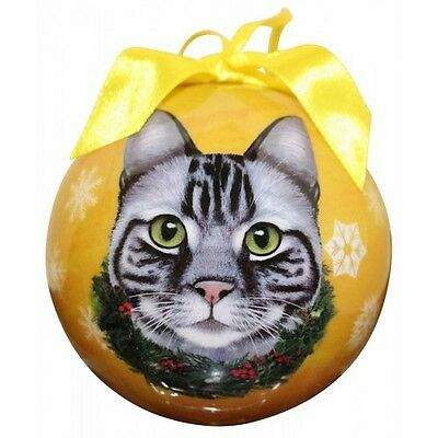 Silver Tabby Cat Christmas Ornament Shatter Proof Ball Yellow Snowflakes New