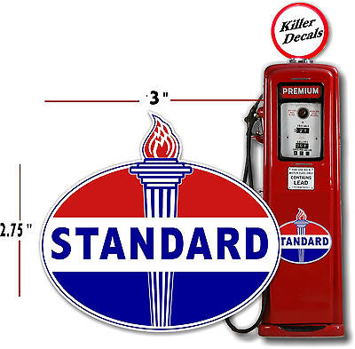 "(Stan-2) 3"" Old Standard Torch Gas Pump Oil Tank Decal Lubster"