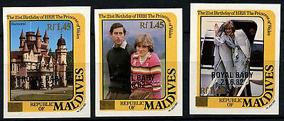 Maldive Islands 1984 SG#1039-41 Royal Baby Wide Gold Surch MNH Imperf Set#D34144