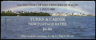 Turks & Caicos Is. 1982 SG##SB6 Princess Wales 21st Stamp Booklet FDI MNH#C37478