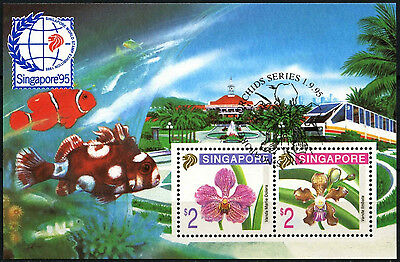 Singapore 1995 SG#MS817 Stamp Exhibition Orchids Cto Used M/S #D33483