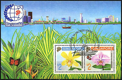 Singapore 1992 SG#MS676 Stamp Exhibition Orchids Cto Used M/S #D33492
