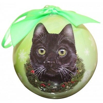Black Cat Christmas Ornament Shatter Proof Ball Green Snowflakes New