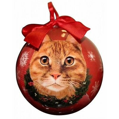 Orange Tabby Cat Christmas Ornament Shatter Proof Ball Red Snowflakes New Wreath