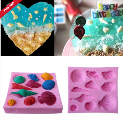 3D Sea Shell Silicone Icing Mould Baking Chocolate Cake Topping  Sugar craft
