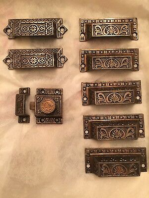 8 Victorian Cast Iron Drawer Cup Pulls Handles & 1 Turn Lock