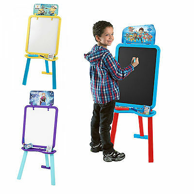 Kids Art Chalk Black Board Easel Double Sided Painting Colouring Drawing Set