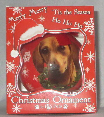 Red Dachshund Doxie Christmas Ornament Shatter Proof Ball Dog Snowflake Wreath