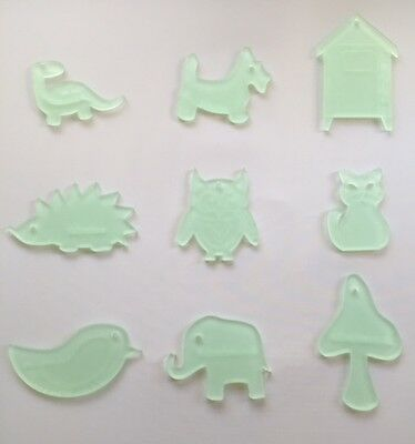 Nine mini acrylic templates for sewing and crafts