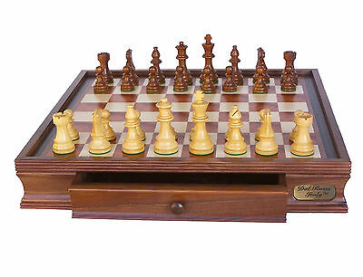 """NEW Dal Rossi Italy Staunton Wooden Chess Set 20"""" Drawer & Wooden Chess Pieces"""