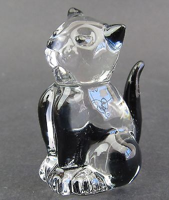 Clear Glass Cat Figurine Miniature,  4.5cm High Boxed Black Highlights