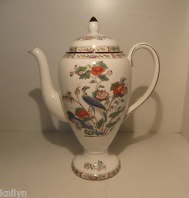 "Wedgwood Kutani Crane Tall Coffee Serving Pot Excellent Condition 10"" 25.5cm"