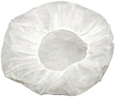 "Disposable Non-woven Bouffant White Cap Hair Net Cap Elastic Free 24"" (600 Pcs)"