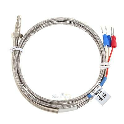 New RTD Pt100 1M Temperature Sensor Cable Stainless Probe 100mm 3 Wire -45~500 ℃