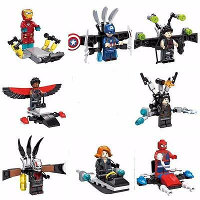 8 Sets of Super Heroes Minifigures Building Toys Iron Man Spider-Man Blocks DR