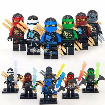 6 Sets Minifigures Flight Ninja Phantom Ninjago Toys Zane Lloyd Jay Blocks DR