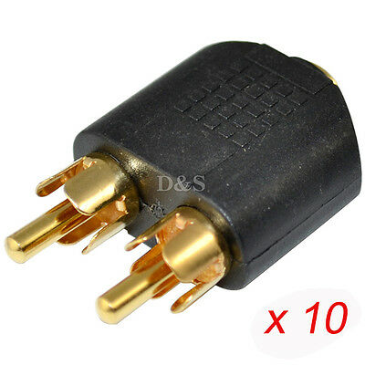 10 Pcs Lots Gold Plated 3.5mm Female to 2Male RCA Splitter Connector Adapter Hot