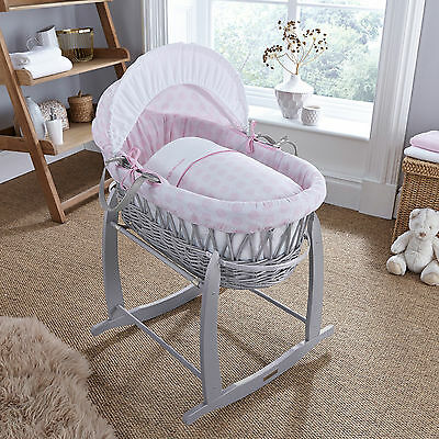 New Clair De Lune Pink Speckles Padded Grey Wicker Baby Moses Basket & Mattress