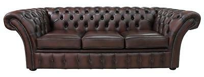 Chesterfield Balmoral 3 Seater Antique Brown Leather Sofa Settee