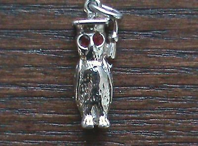 Silver Coloured Owl Charm - has Red Eyes