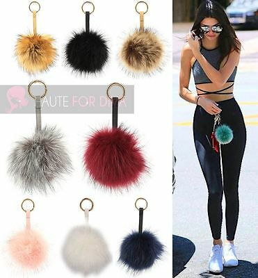 Ladies Medium Size Faux Fur Pom Pom Ball Soft Fluffy Keyring Bag Charm