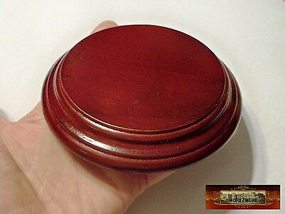 """M00507 MOREZMORE Finished Polished 4.5"""" Round Wood Base Wooden Plaque Stand NRO"""