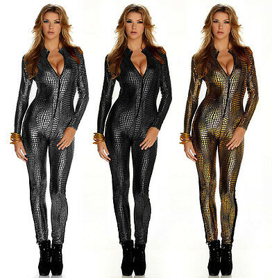 Womens Sexy Snake Skin Catsuit Catwoman Wet Look Full Length Fetish Jumpsuit
